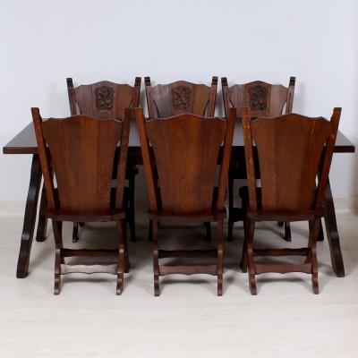 č.1547, kuchyňský SET STYLOVÝ,  stůl 180x85 cm + 6 ks židlí