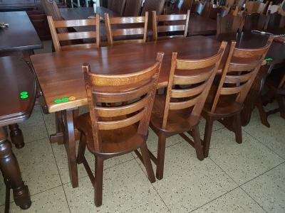 č.1912 kuchyňský SET MASIV DUB, stůl 180x85 cm + 6 ks židlí