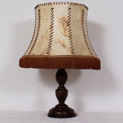 č.638 lampa stolní dub+kůže v 56 cm