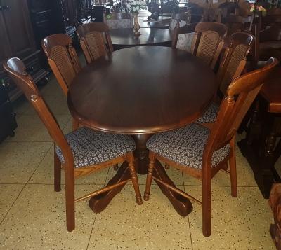 č.1088 kuchyňský SET MASIV DUB stůl 180x104 cm + 6 ks židlí