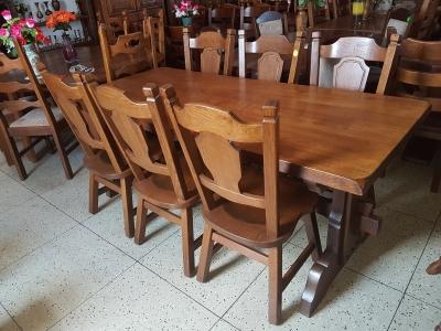 č.1920 kuchyňský SET MASIV DUB stůl 191x85 cm + 6 ks židlí
